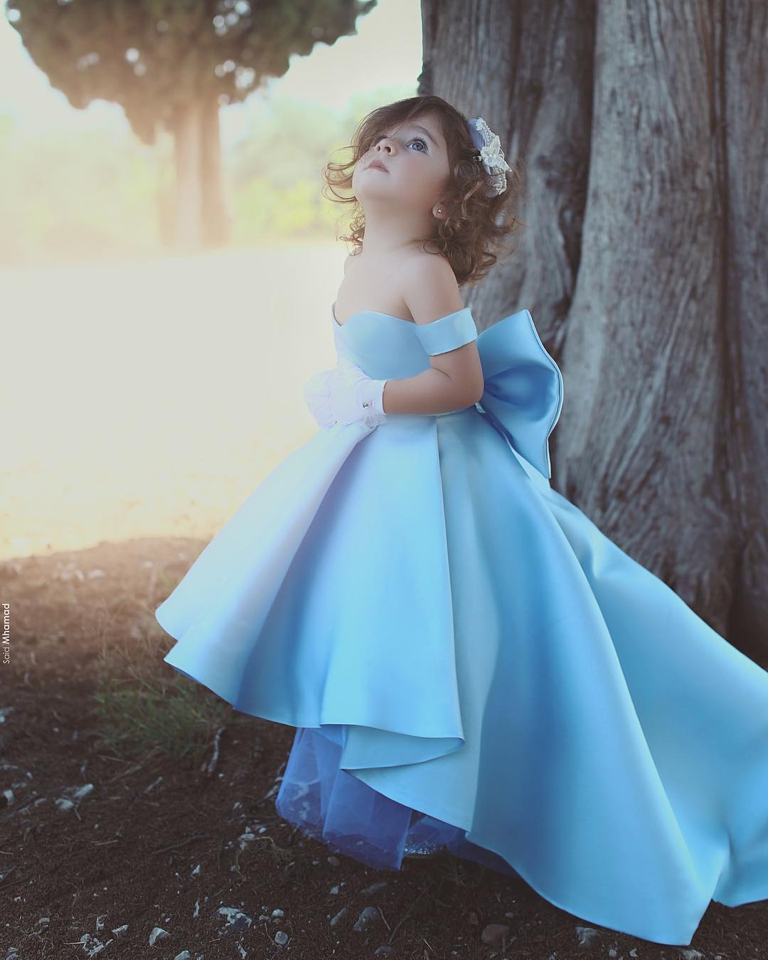 Flower Girl Dress 2018, Princess Blue Off the Shoulder High Low Flower Girl Dresses Ball Gowns Child Pageant Dresses Long Train Little Kids Wedding Party Gowns, FLD15