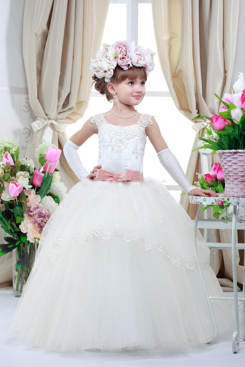 Princess Lace Appliques Tutu Ball Gown Flower Girl Dresses With Belt Girls First Communion Dresses Girls Pageant Dresses Custom Made