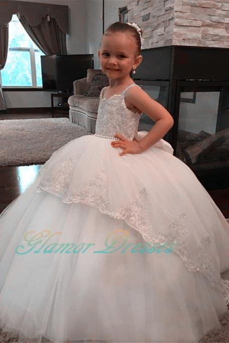 2017 New Princess White Ivory Ball Gown Flower Girl Dress Spaghetti Straps Puffy Girls First Communion Dress Girls Lace Wedding Party Dresses Girls Formal Birthday Party Gowns Kids Prom Evening Dance Dresses