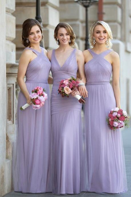 New Cheap Long Bridesmaid Dresses 2017 A-Line Deep V-Neck/Halter Floor-Length Lavender Bridesmaid Dress With Pleats,Prom Dress 2017