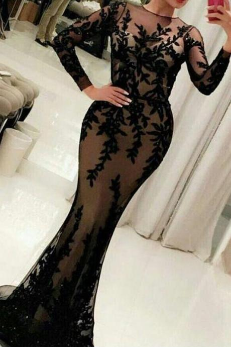 2017 New Arrival Black Mermaid Lace Appliques Formal Evening Dresses O Neck Long Sleeve Sequined Evening Party Dress