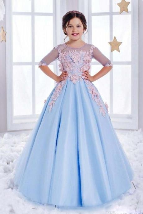 Sweet Tulle Satin Pageant Ball Gown Half Sleeves Light Blue Gorgeous Scoop Sweep Train Flower Girl Dresses For Weddings