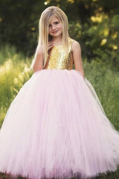Sweet Pretty Gold Sequins Top Pink Tulle Ball Gown Key-hole Back Flower Girl Dresses For Weddings Girls Formal Party Dresses