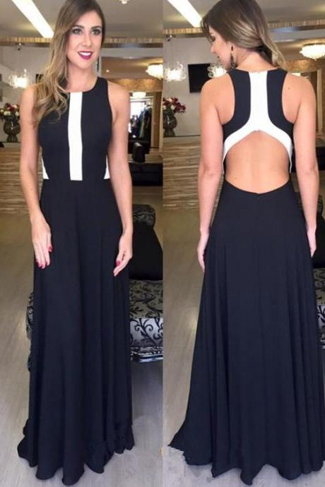 Prom Dress 2017,Charming Prom Dress,Sexy Sleeveless Black Prom Dress, Long Evening Dress,Chiffon Party Dress,Evening Dresses