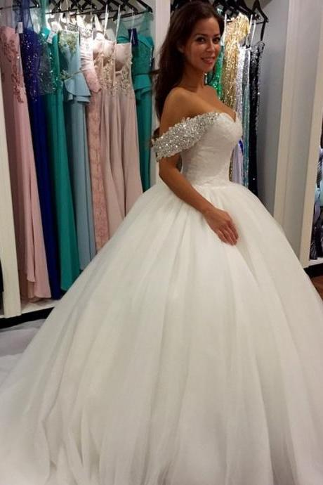Bridal Dresses,2017 Charming White Lace Wedding Dress,Sexy Sweetheart Bridal Dress,Off Shoulder Wedding Dress,Elegant Ball Gown Wedding Dresses