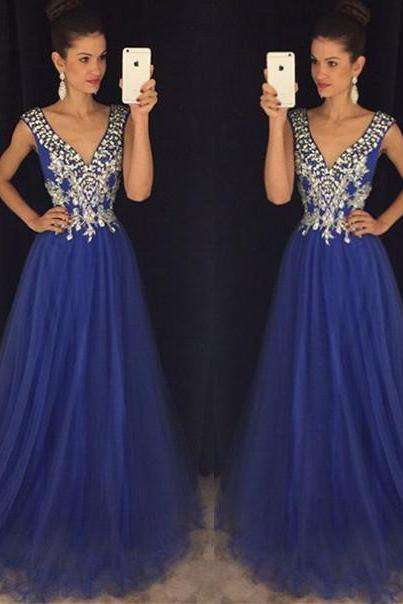 2017 New Gorgeous V Neck A Line Sparkly Crystal Beaded Long Chiffon Prom Dress See Through Back Formal Party Gown Evening Dresses