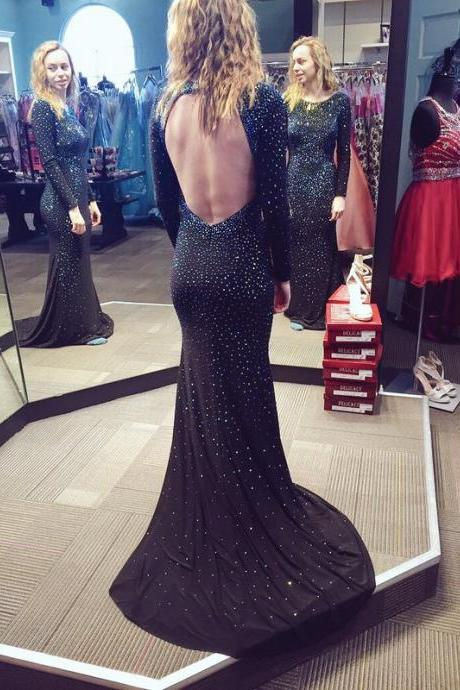 2017 New Gorgeous Scoop Neck Mermaid Sparkly Beaded Long Prom Dress Backless Formal Party Gown Evening Dresses