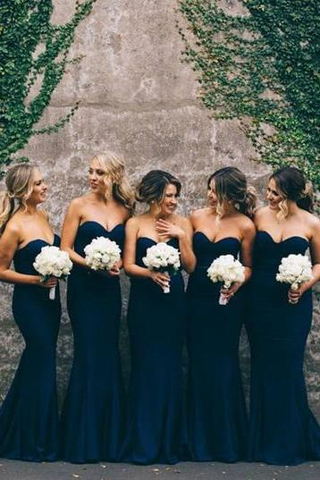 2017 Sweetheart Mermaid Bridesmaid Dresses,Gorgeous Mermaid Long Navy Blue Strapless Bridesmaid Dress,Wedding Party Dress,Prom Dresses Long