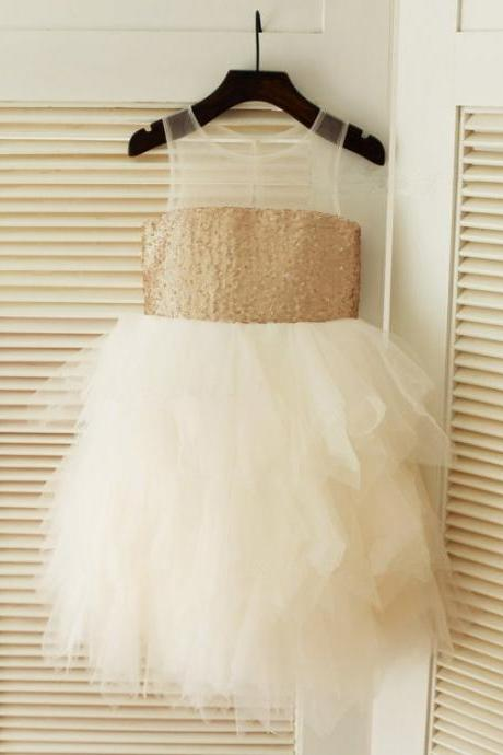 New Champagne Tea Length Flower Girl Dresses 2018 Sequins Jewel Flower Girl Dress Puffy Girls Formal Party Gowns