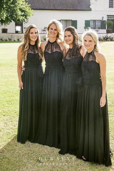 Custom Made Black Lace A line Full Length Bridesmaid Dress with Sash