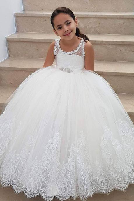 Flower Girl Dress, Crew Puffy Tulle Ball Gown White Lace Appliques Flower Girl Dresses with Beads Sash Girls Formal Party Gowns