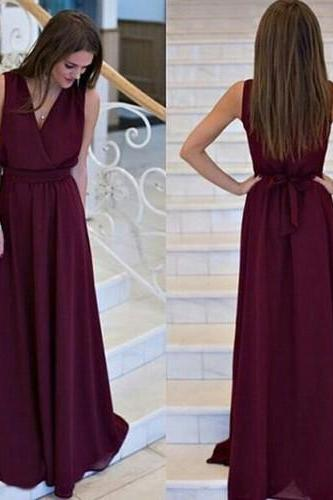 Sleeveless V-Neck Chiffon A-line Floor-Length Prom Dress, Evening Dress
