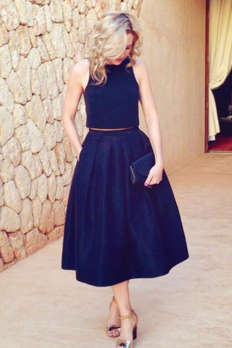 Homecoming Dress, 2018 Short Two Piece Prom Dresses, Navy Blue Homecoming Dresses, Tea Length Homecoming Dresses, Two Piece Homecoming Dress, Prom Dress 2018