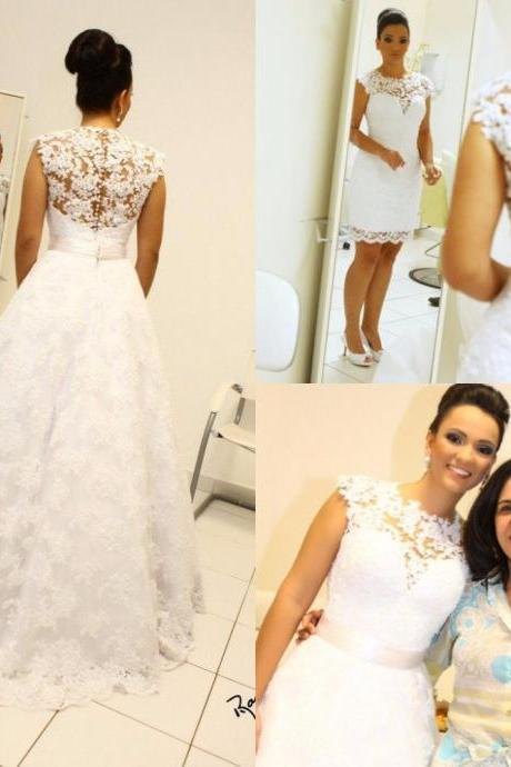 Wedding Dress, Vintage Ball Gown Wedding Dresses High Neck Sleeveless Long Bridal Gowns Detachable Removable Skirt robe de mariage