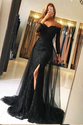 Prom Dresses, New Arrival Memraid Sexy Prom Dresses,Long Prom Dresses,Off the Shoulder Long Sleeves Prom Dresses, Evening Dress Prom Gowns, Formal Women Dress,Prom Dress