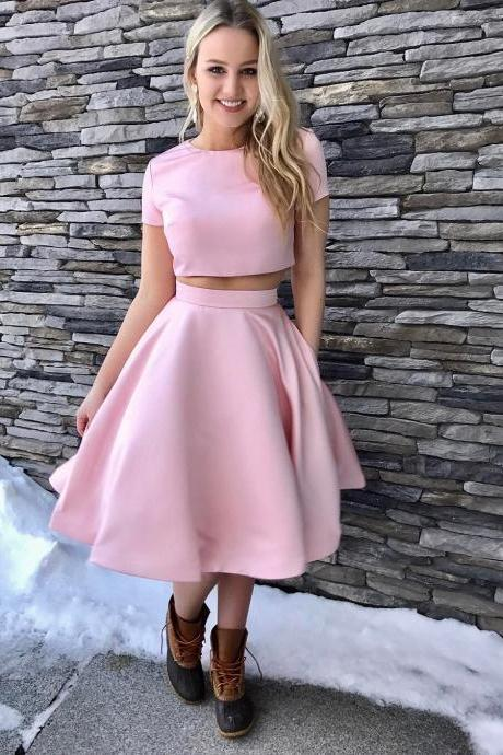 Prom Dresses,Two Piece Short Pink Knee Length Homecoming Dress with Pockets