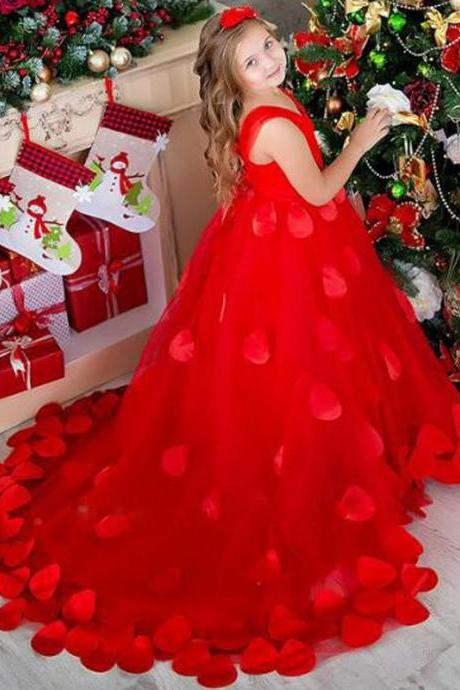 Flower Girl Dress, 2018 New Sweetheart Red Petals Tulle Long Flower Girl Dresses Sweep Train Ball Gown Girl Communion Dress Girls Pageant Dress Kids Prom Dress