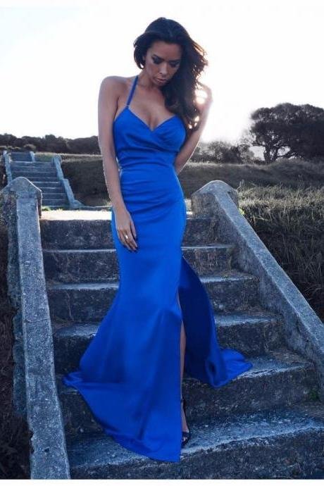 Sexy Elegant Prom Dresses, Prom Dress,New Royal Blue Prom Dress V Neck with Spaghetti Strap Side Split Sexy Long Mermaid Prom Party Gown Women Dress