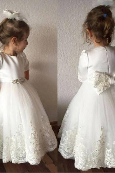 Flower Girl Dress, Princess White Ivory 3/4 Sleeves Zipper Back Flower Girls Dresses for Weddings With Big Bow 2018 Lace Appliqued Toddler Girl First Communion Dress Pageant Gowns