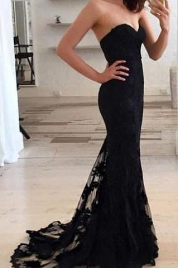 Custom Made Black Lace Mermaid Formal Long Prom Dresses , Wedding Dress with Sweetheart Neckline