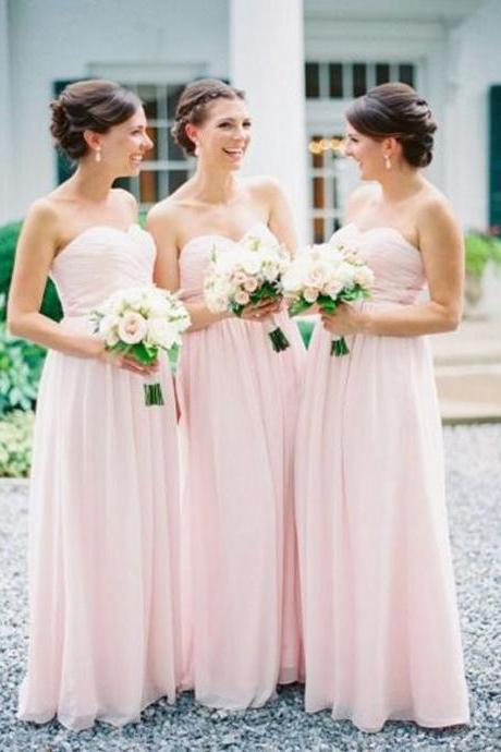 Light Pink Ruched Chiffon Sweetheart Floor Length A-Line Bridesmaid Dress, Formal Dress
