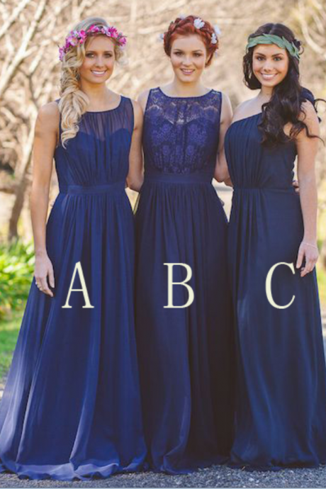 royal blue bridesmaid dress,Bridesmaid dress, long bridesmaid dress, mismatched bridesmaid dress, chiffon bridesmaid dress