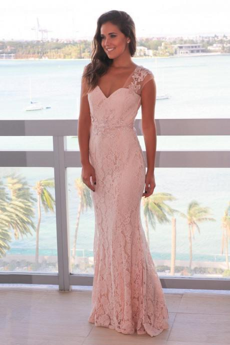 New Arrival Prom Dress,Backless Prom Dresses,Elegant Mermaid Pink Lace Long Prom Dress Evening Dress