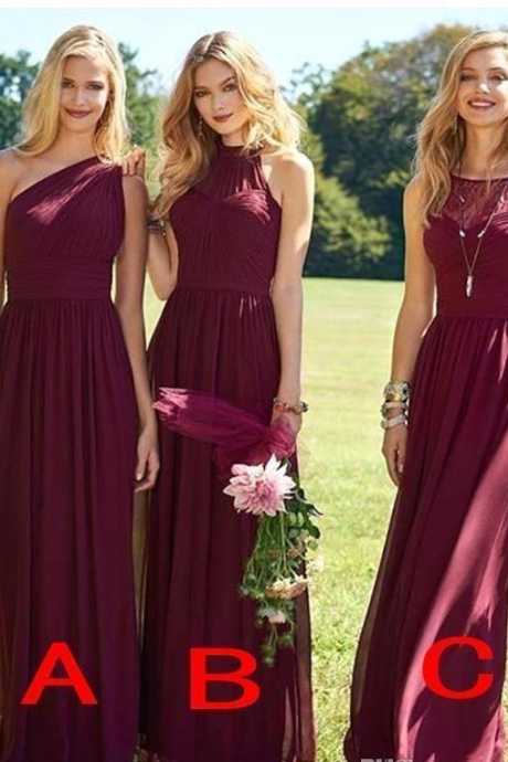 Elegant Burgundy Bridesmaid Dresses Long Wedding Guest Dress Chiffon Sweep Train Cheap Formal Pageant Gowns