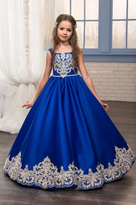 Flower Girl Dress, New 2018 Pretty Royal Blue Purple Bateau Neckline Ball Gown Flower Girl Dresses With Lace Appliques Floor Length Girls Formal Wedding Birthday Party Gowns