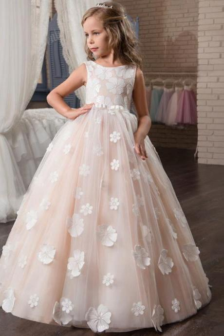 Flower Girl Dress, New 2018 Pretty Ball Gown Flower Girl Dresses With Flowers Petals Belt Floor Length Girls Formal Wedding Birthday Party Gowns