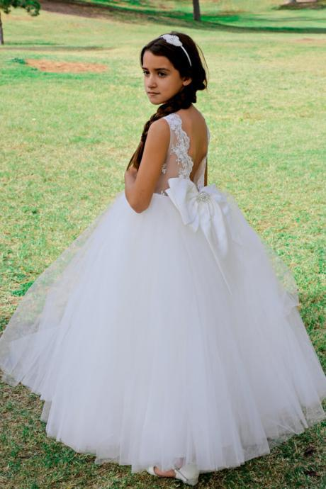 Flower Girl Dress, New 2018 White Princess Flower Girl Dresses Backless Girl Wedding Party Gowns Girls First Holy Communion Dress Girls Formal Party Prom Gowns