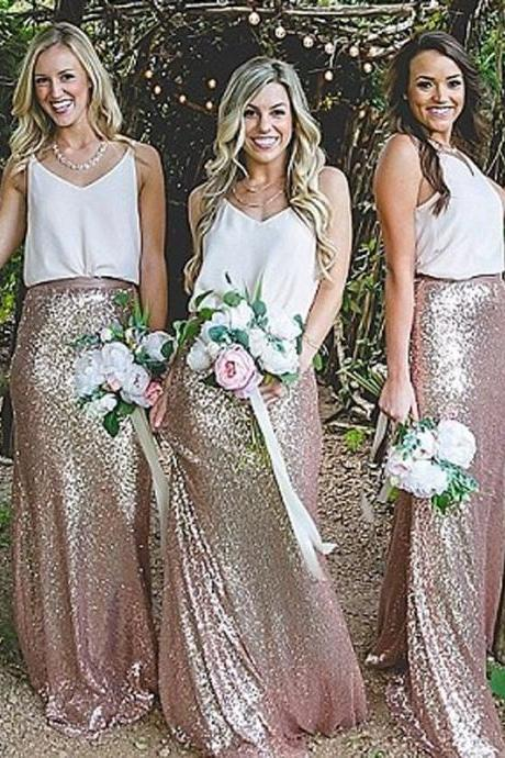 A-Line Sleeveless Prom Dresses,Elegant Sheath V-Neck Straps Sequined Floor-Length Bridesmaid Dress,Bridesmaid Dresses