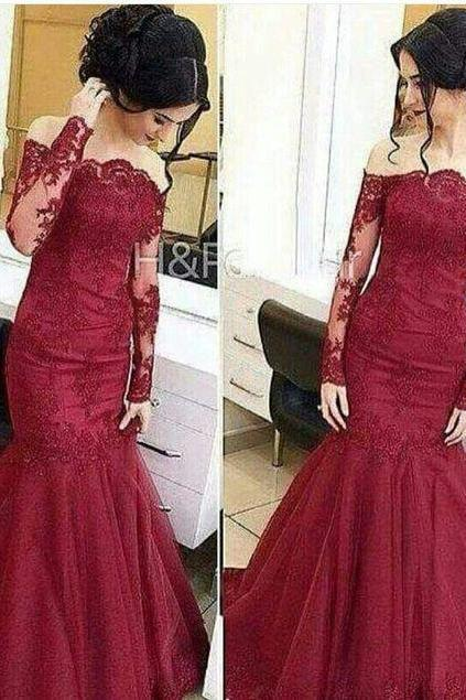 Wine Red Colored, Lace Evening Dress, Mermaid Elegant, Long sleeves, off shoulder, prom dress