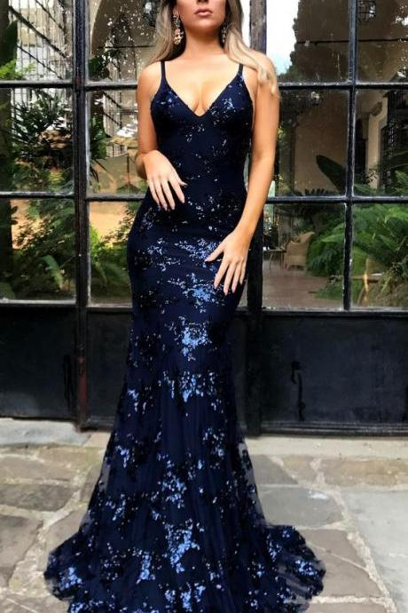 Sexy Long Prom Dress,Sparkly Mermaid Sequins Navy Blue Long Prom Dress sexy prom gowns