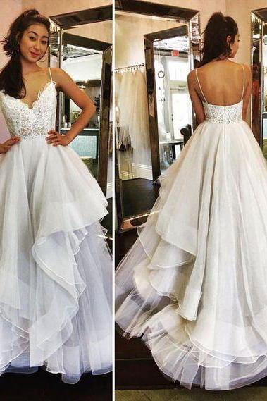 Sexy Long Prom Dress, White Lace Tulle Party Dress,Spaghetti Straps Prom Dress