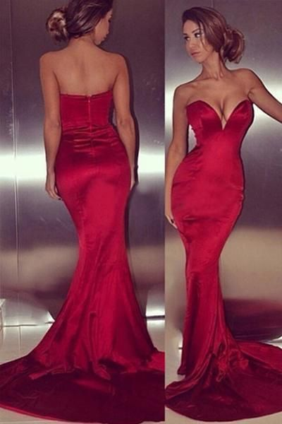 Custom Made Red Sweetheart Neckline Satin Mermaid Evening Dress, Prom Dresses, Wedding Gowns