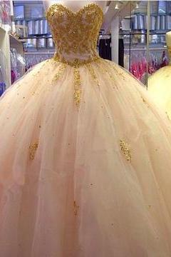Sexy Sweetheart Tulle Appliques Beads wedding Dress Ball Gowns Prom Dress