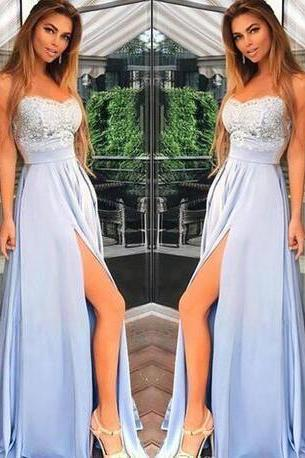 Light Blue Prom Dresses,Spaghetti Straps Prom Dresses,Charming Prom Dresses,Chiffon Prom Dresses,Long Prom Gown,Lace Top Prom Dress,Split Evening Party Gowns