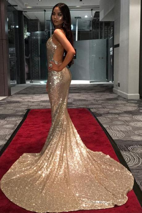 V Neck Mermaid Evening Dress, Sexy Open Back Sequins Evening Gown, Spaghetti Straps Long Prom Dress