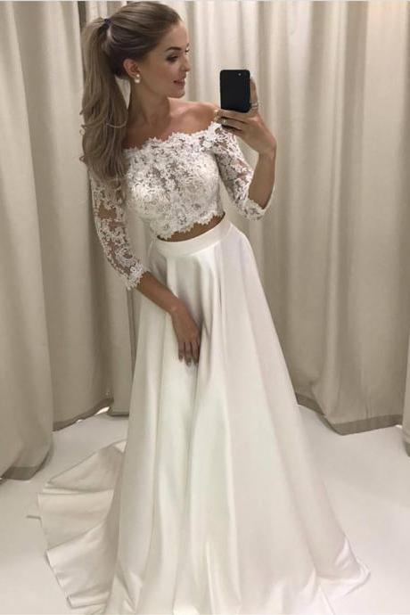 White Lace Prom Dress, Two Pieces Prom Dresses, Lace Sleeves Prom Dresses, A-line Long Prom Party Dresses, Senior Prom Dresses, Prom Dresses
