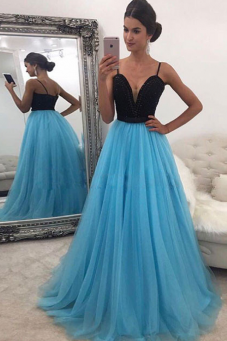 Spaghetti Straps Black Top Light Blue Evening Dresses, Prom Dresses, Sexy Prom Gowns, Prom Dance Dress