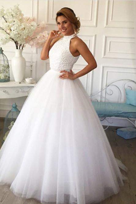 Halter Beaded Ball Gown Floor-Length White Wedding Dress Featuring Keyhole Back