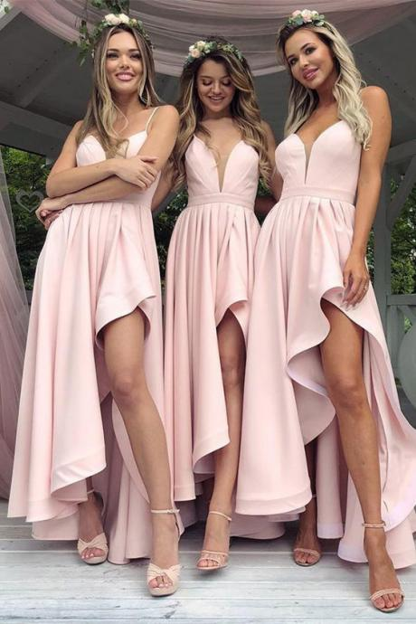 Sexy High Low Spaghetti Straps Satin Bridesmaid Dresses, Light Pink Beach Maid of Honor Plus Size Long Wedding Guest Party Dress, Pink Prom Party Gowns