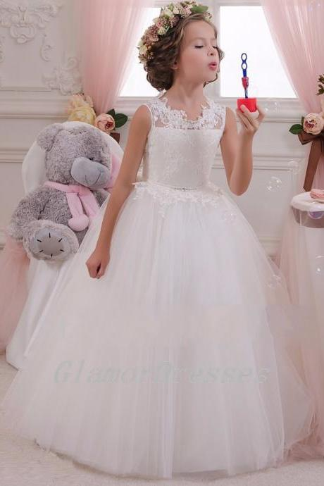 New Hot Pretty White Flower Girl Dresses Ivory Flower Girls Dress Puffy Girls Christmas Dresses Flower Girls Dress Tulle Lace Appliques Long Flower Girl Dresses 2016 Girls First Communion Dresses vestido de daminha Girls Christmas Dress Girls Birthday Dress Wedding Party Dresses