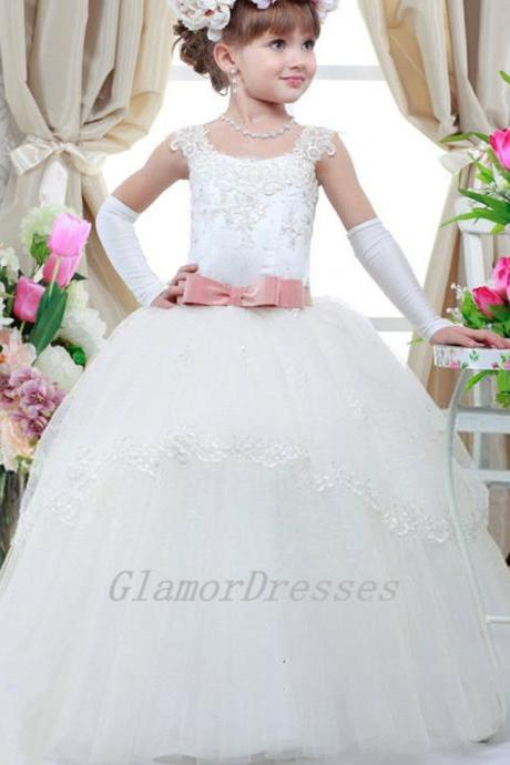 2016 New Pretty Cute Scoop Ball Gown Flower Girl Dresses Cap Sleeves Girls Pageant Dress Beads Lace Appliques Custom Made Girls Christmas Dresses with Pink Sash Lace Up Back Girls Wedding Party Dresses Flower Girls Dress with Beading Sash Tulle Lace Long Flower Girl Dresses 2016 Girls First Communion Dresses vestido de daminha Girls Christmas Dress Girls Birthday Dress Wedding Party Dresses