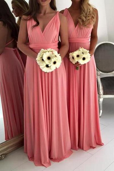 Coral Prom Dress,Long Prom Dresses,Cheap Chiffon Prom Dresses,Bridesmaid Dress,Coral Bridesmaid Dress, V Neck Birdesmaid Dress, sexy prom dress, A line Evening Dress,Prom Gowns,Women Dress,Formal Prom Evening Dress, Wedding Party Dress, Homecoming Dress