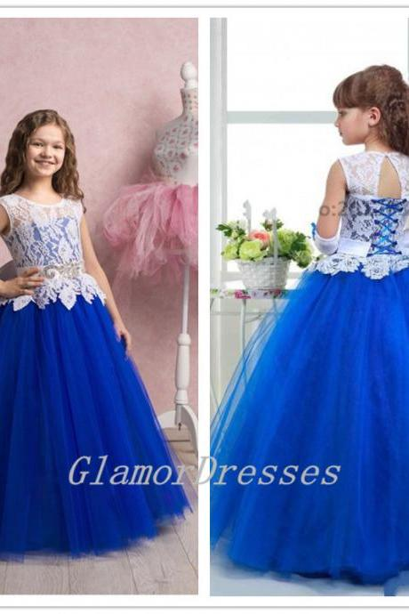 White Blue Flower Girls Dresses, White Lace Top Flower Girl Dresses, Flower Girl Dresses, Girls Communion Dresses, Girls Wedding Party Dresses, Toddler Litter Girl Dress, Lace Flower Girl Dresses, Girls Holy Communion Dress, Girls Christmas Dresses, Girls Pageant Dresses, Puffy Ball Gown Flower Girl Dresses, Floor Length Flower Girl Dresses