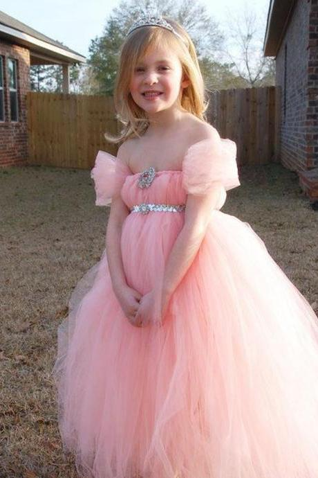Pink Flower Girls Dresses, Pink Girls Pageant Dresses, Tulle Girls Communion Dresses, Little Girls Wedding Party Dress, Custom Made Girls Pageant Dress, Ball Gown Flower Girls Dress, Crystal Little Flower Girls Dress