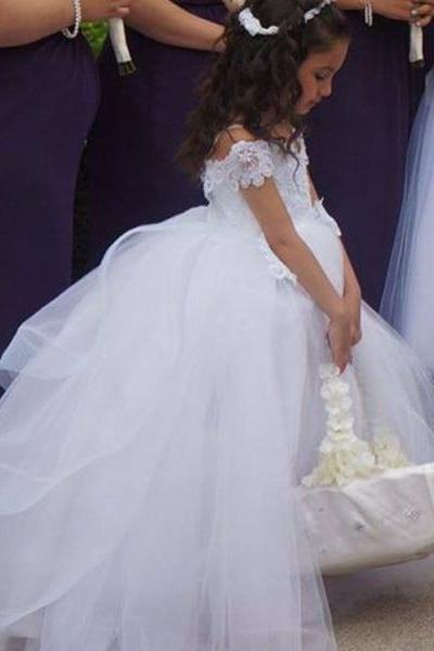 Ball Gown Flower Girl Dresses,White Flower Girl Dresses, Off The Shoulder Flower Girl Dresses, Floor Length Girls First Communion Dresses, Girls Wedding Party Dresses, Custom Made Girl Dress for Girl