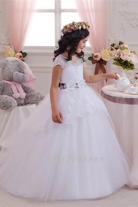 Puffy Flower Girl Dresses,White Ball Gown Flower Girl Dresses, Flower Girl Dresses, Floor Length Girls First Communion Dresses, Girls Wedding Party Dresses, Custom Made Girl Dress for Girl